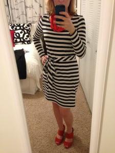 """A recent acquisition- the """"Bridget"""" dress from Banana Republic, shoes- Nine West, necklace- Francesca's"""