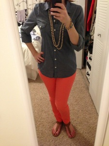 I think these pants are great! Pants and shirt- Old Navy, sandals- Nine West