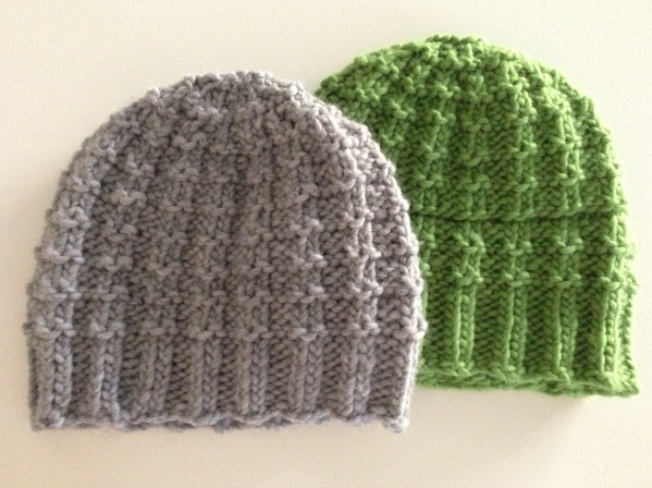 Winter hats for the men in my life (Close Knit Waffle Hat on Ravelry)