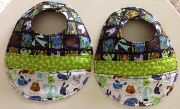 Puppy-themed bibs for the same expecting friend.