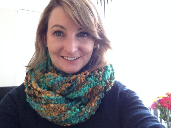 Super warm cowl made from gifted yarn.